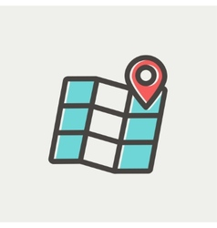 Folded map with pin thin line icon vector image