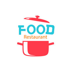 food restaurant logo saucepan background im vector image