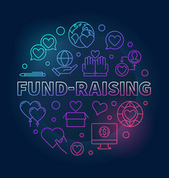 fund-raising round colored linear vector image