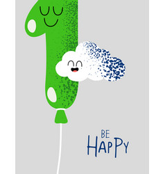 Funny happy birthday gift card number 1 balloon vector