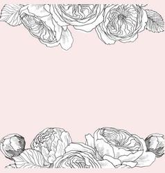 garden tender english roses frame vintage vector image