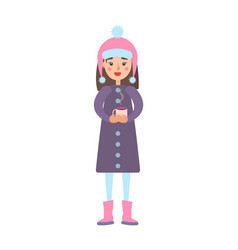 girl warm winter cloth with cup of hot tea drink vector image