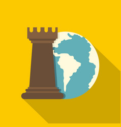 Globe earth and chess rook icon flat style vector