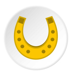 Golden horseshoe icon circle vector