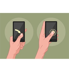Hands using mobile device vector
