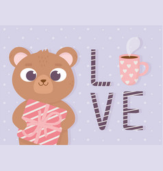happy valentines day cute little bear with gift vector image