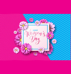 happy womens day floral greeting card design vector image