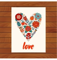 Heart made of flowers Doodle Heart vector image