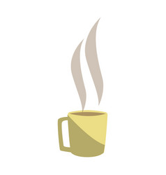 Hot coffee cup beverage break office vector