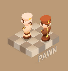 Isometric cartoon chess pieces pawn flat vector