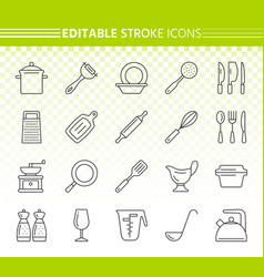 Kitchenware simple black line icons set vector