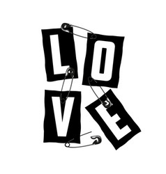 Love slogan on ripped paper and secured safety vector