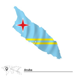 Map of Aruba with flag vector