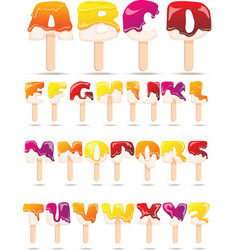 Melting Ice Cream Alphabet Flat Banner vector