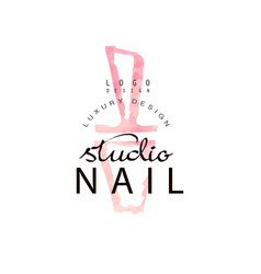 Nail studio luxury logo design template for nail vector