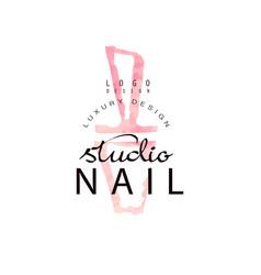 Nail studio luxury logo design template for nail vector