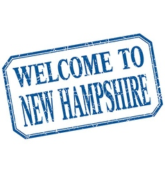 New hampshire - welcome blue vintage isolated vector