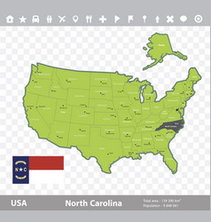 north carolina flag and map vector image