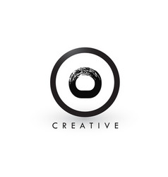 O brush letter logo design creative brushed vector