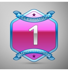 One years anniversary celebration silver logo with vector