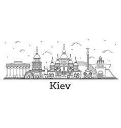Outline kiev ukraine city skyline with historic vector