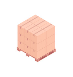 Pallet with small boxes isometric vector
