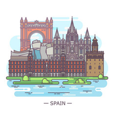 panorama with historical spanish landmarks in line vector image