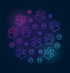 Paw prints round bright outline vector