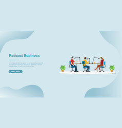 podcast production business for website template vector image