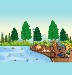 pond in the park view vector image