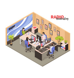 Radio broadcasting isometric vector