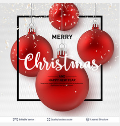 red shiny christmas balls on light background vector image