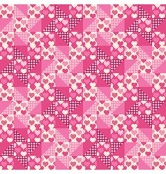 Seamless pattern patchwork with hearts vector