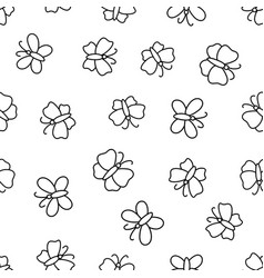 Seamless pattern with butterflies doodled endless vector