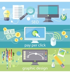 SEO pay per click and graphic design vector image