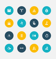 set of 16 editable active icons includes symbols vector image