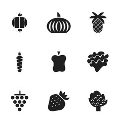 set of 9 editable fruits icons includes symbols vector image