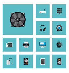 Set of pc icons flat style symbols with game vector