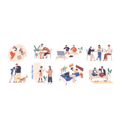 Set parents and kids spending happy time vector