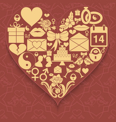 Set valentines day icons compiled in shape of vector