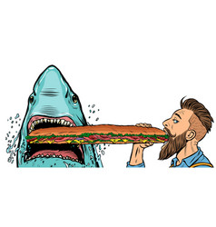 shark and man eating fast food sandwiches hunger vector image