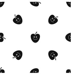 smiling apple pattern seamless black vector image