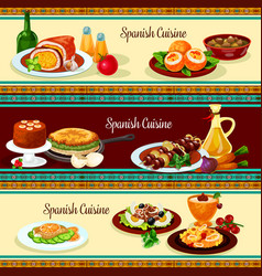 Spanish cuisine dinner restaurant banner set vector