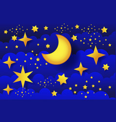 starry night moon in clouds vector image