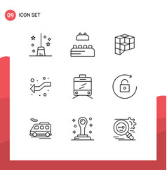 Stock icon pack 9 line signs and symbols for vector