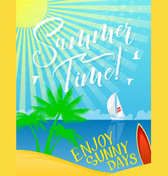 Summer holiday banner for vacation and sea travel vector