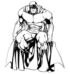 Superhero sitting isolated line art vector