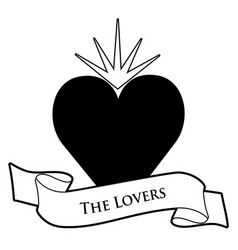 Tarot card concept the lovers heart and text vector
