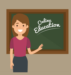 Teacher woman with chalkboard education online vector