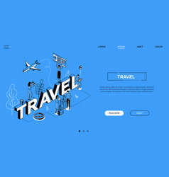 Travel agency conceptual landing page vector